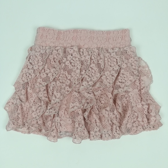 Wet Seal Dresses & Skirts - Wet Seal pink lace ruffled skirt S
